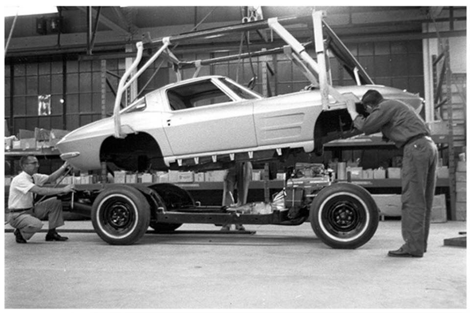 Corvette Body on Frame Assembly | Vintage Car Dealerships, Auto ...