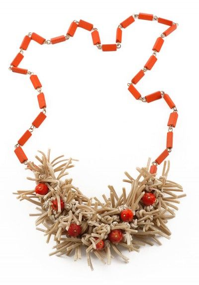 Check out RETUSJ at www.justfashion.no. Natural rubber bands, red glass beads, red wooden vintage beads.Item is made to order (approx 7 working days).