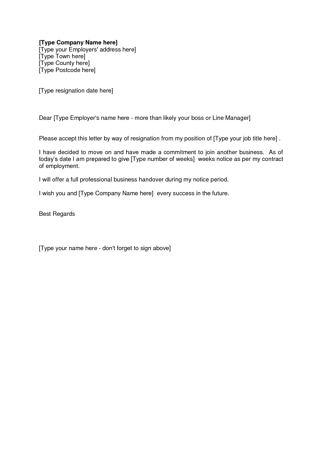 Letter Of Resignation Weeks Notice
