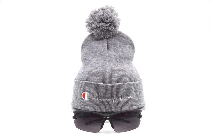 56eb61e053b Mens   Womens Champion Script Trademark Brand Logo One Size Fits All Winter  Warm Fashion Basic Knit Pom Beanie Cap - Grey