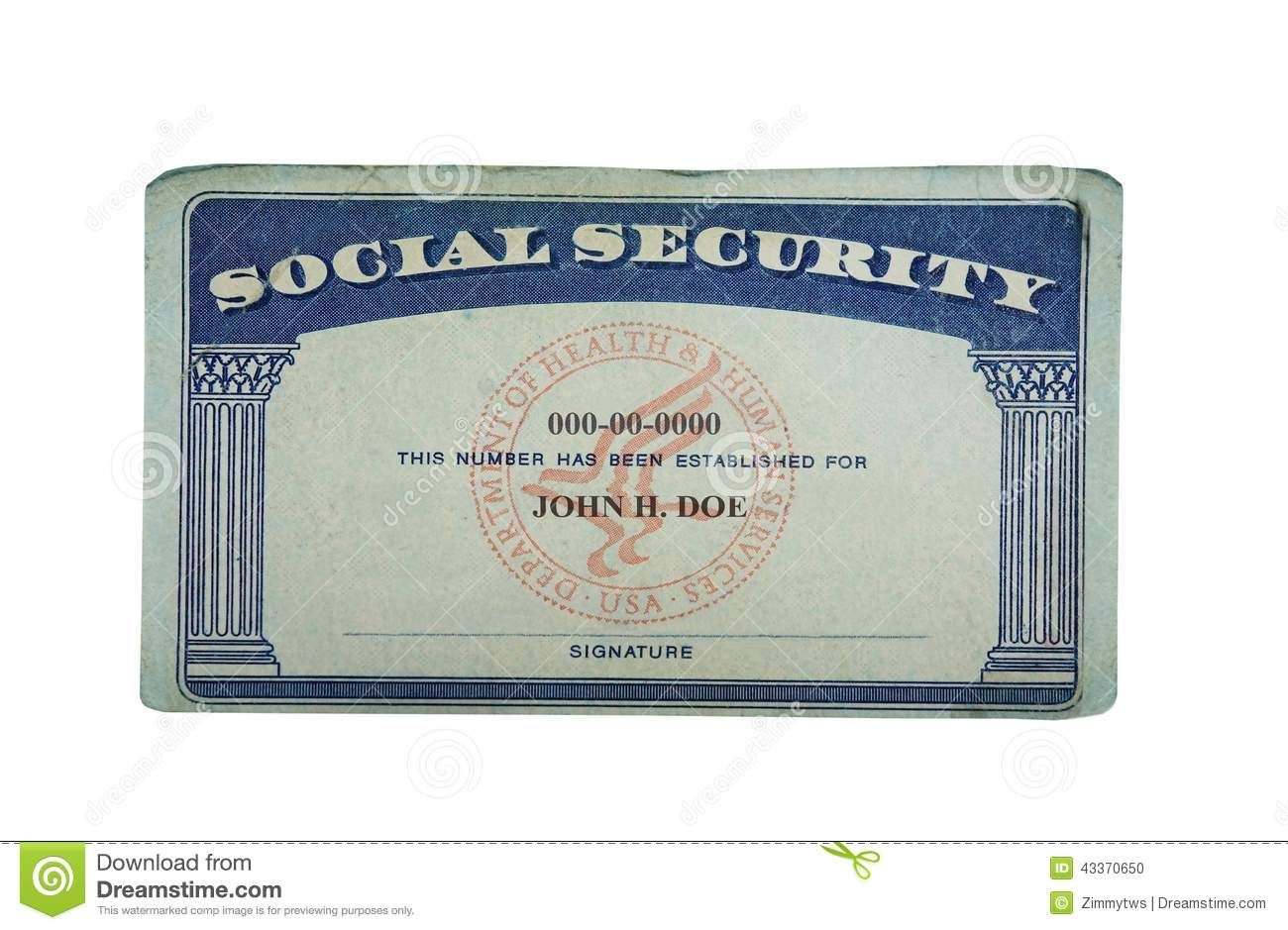 Blank card stock photo image of paper social security