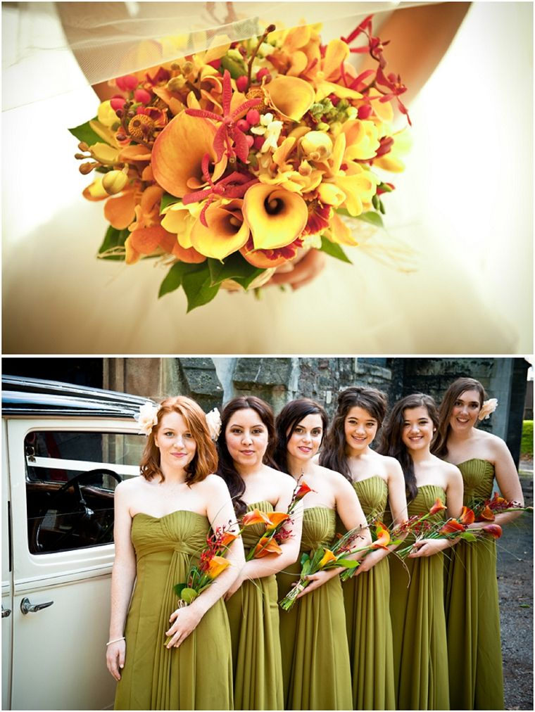 Burnt Orange Overarm Bouquets With Calla Lilies And Orchids Olive