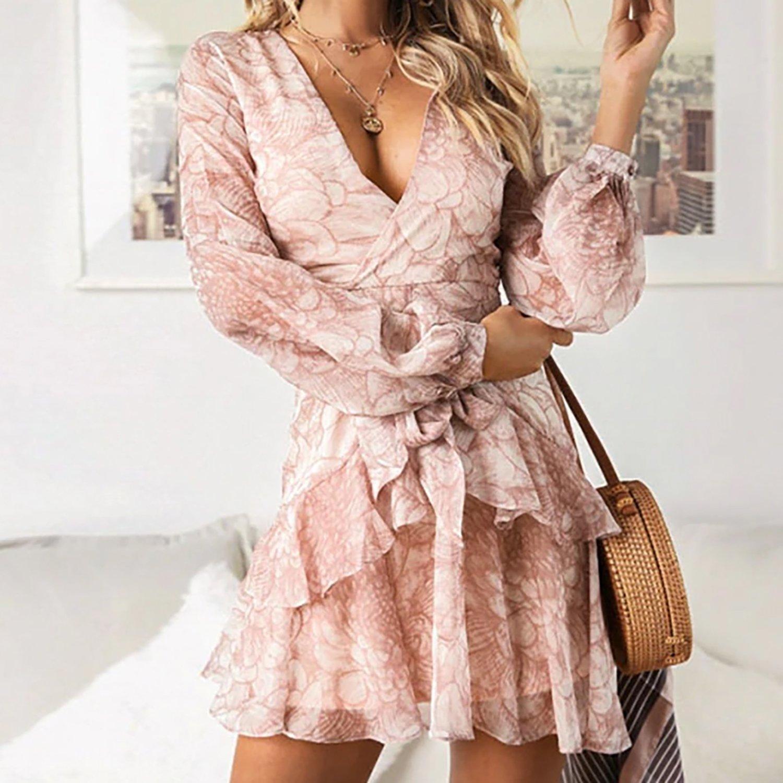 Bella Boho Romantic Vintage Ruffle Wrap Long Sleeve Chiffon Mini Dress Printed Summer Dresses Chiffon Ruffle Dress Chiffon Mini Dress [ 1500 x 1500 Pixel ]