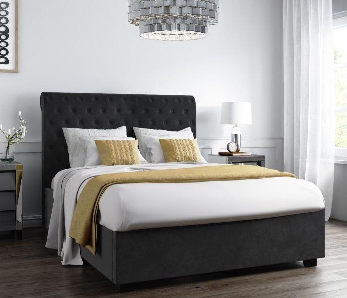 Best Safina Rolltop King Size Ottoman Bed In Dark Grey Velvet 400 x 300