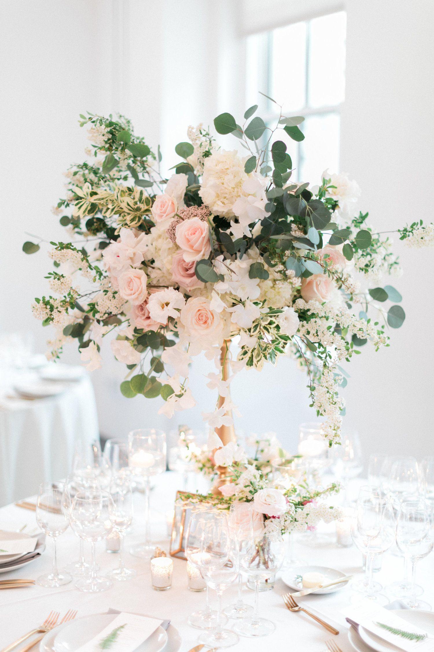 Tall Wedding Centerpiece Cream Blush Color Palette With Gold Pedestal Sta Wedding Floral Centerpieces Tall Wedding Centerpieces Flower Centerpieces Wedding