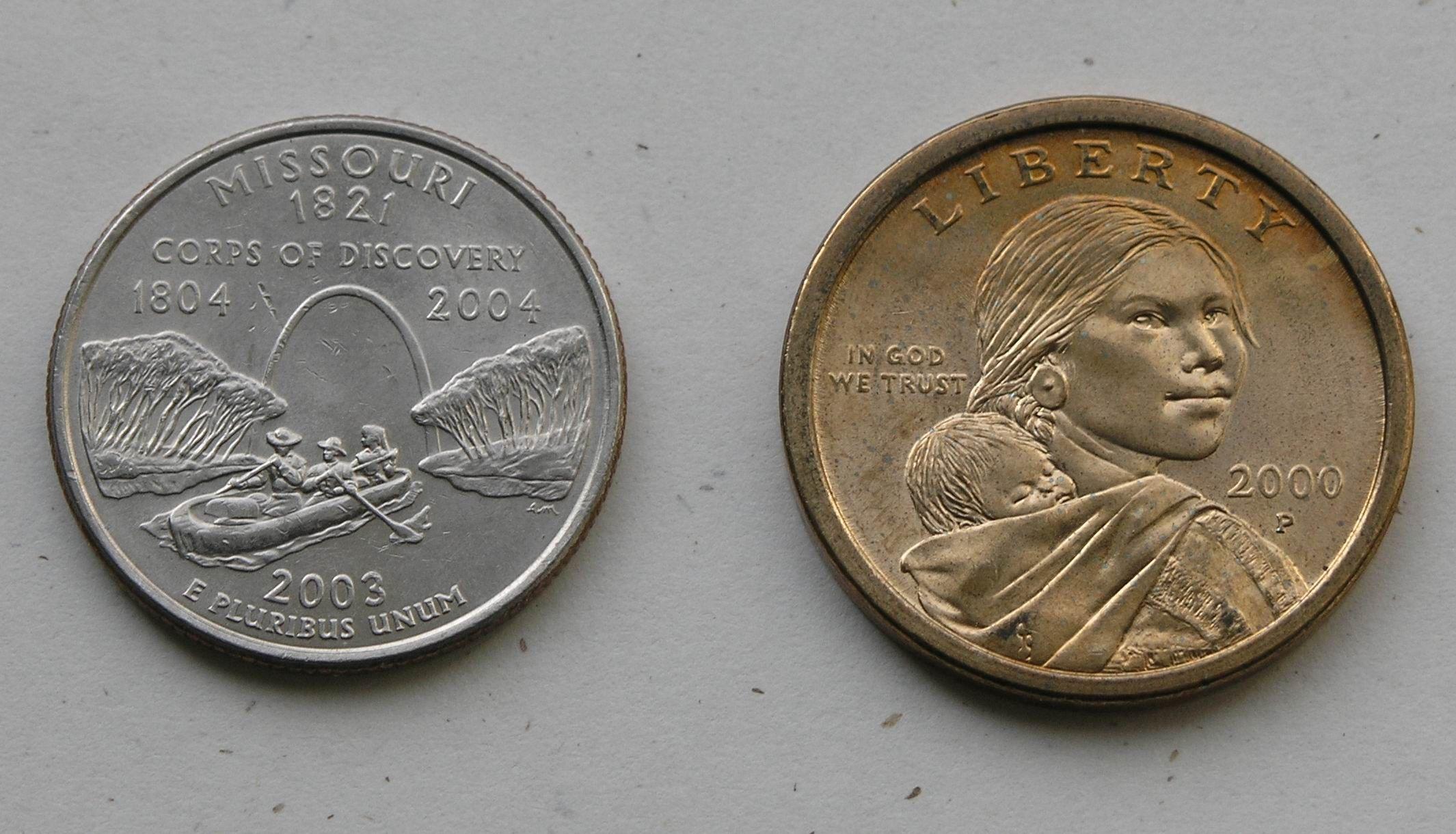 Missouri State Quarter And Sacagawea Dollar Coin