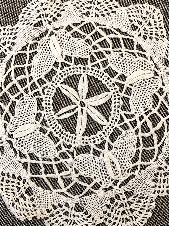 Vintage Style Beautiful Butterfly Hand Bobbin Lace Beige Cotton Doily