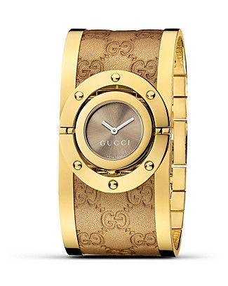 28521f77b0a Gucci Twirl Leather Bangle Watch