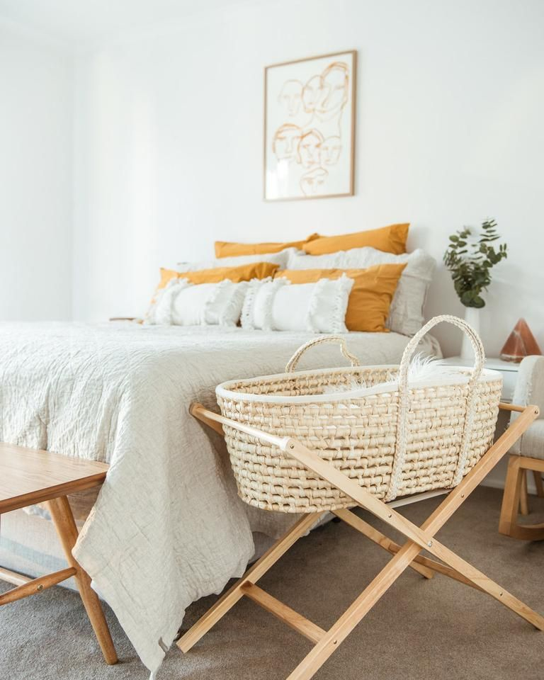 Photo of Natural Moses Basket + Wooden Stand Set