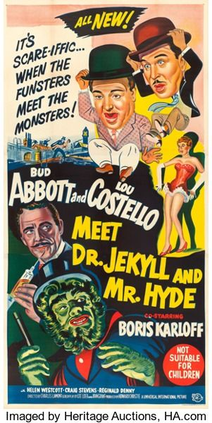 Abbott And Costello Meet The Invisible Man Movie Posters Comedy Abbott And Costello Meet Dr Jekyll And Mr Hyde Universalinternational 1953 Aus Horror Movie Posters Old Movie Posters Movie Posters