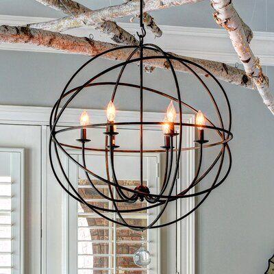 6 Light Antique Copper Modern Farmhouse Pendant Globe Chandelier