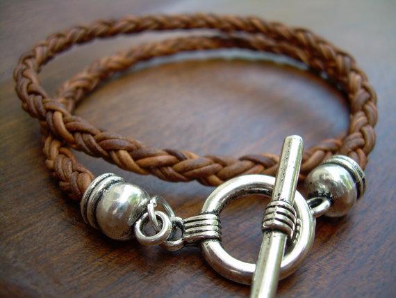 Mens Leather Bracelets Double Wrap Braided Leather Bracelet Womens