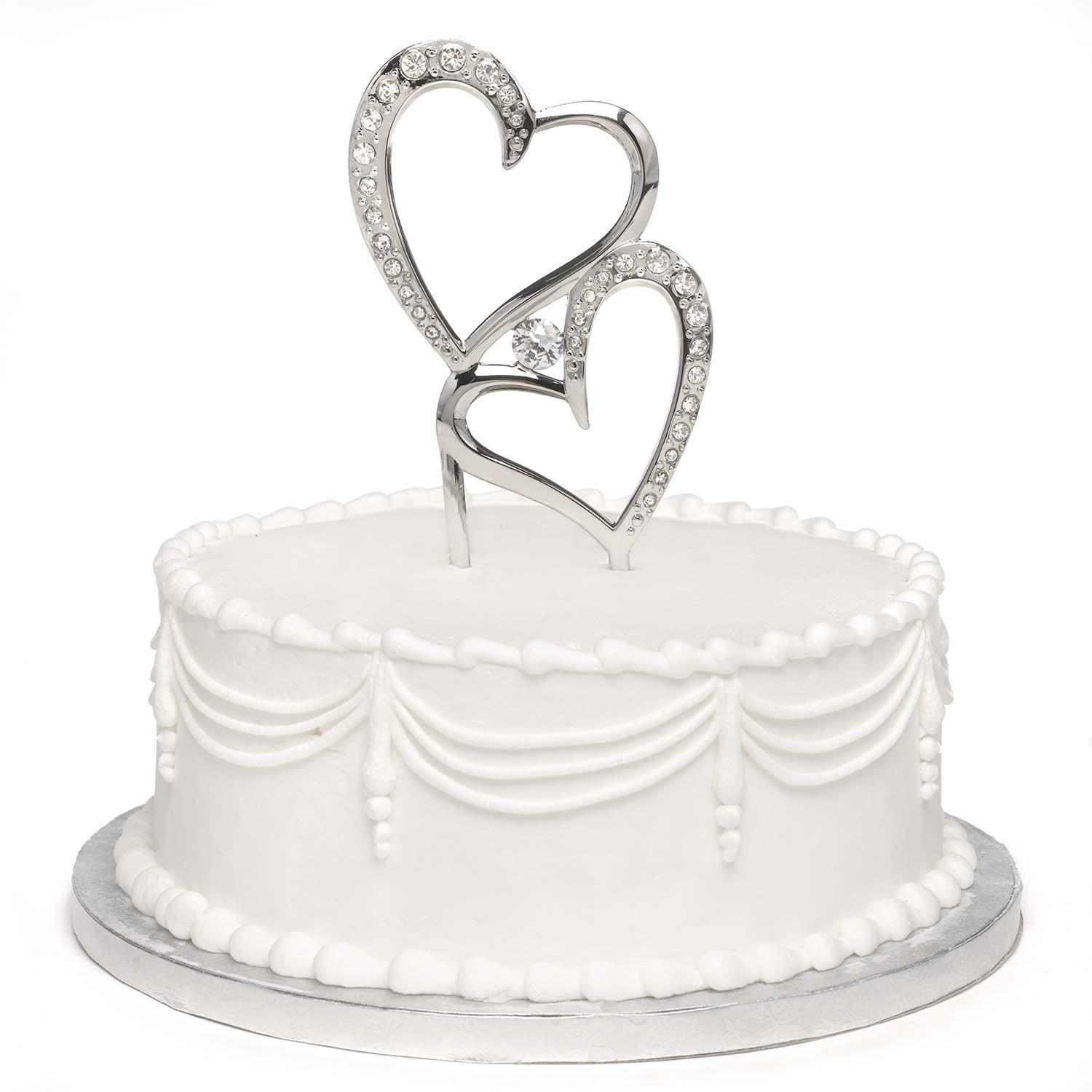 Sparkling Love Wedding Cake Topper made of silver plated metal. The ...