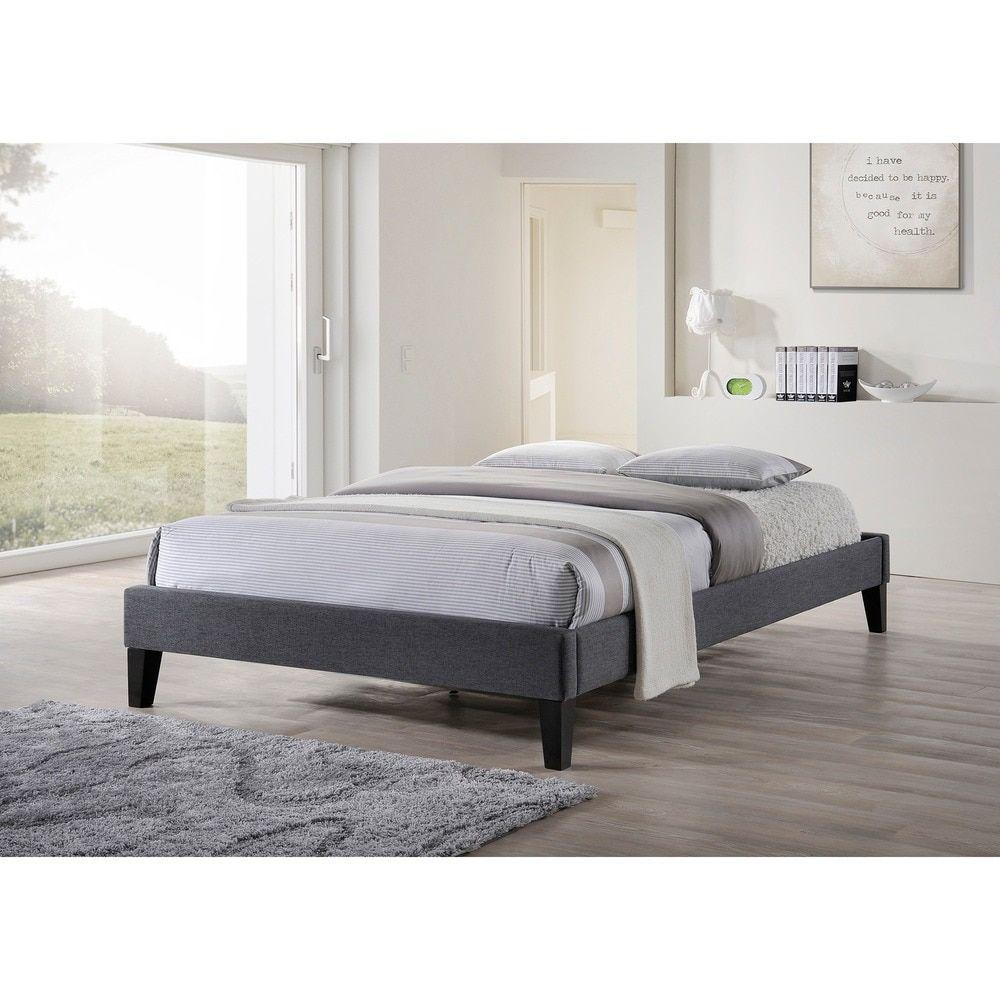 Baxton Studio Leonidas Modern Grey Upholstered Platform Bed   Master ...