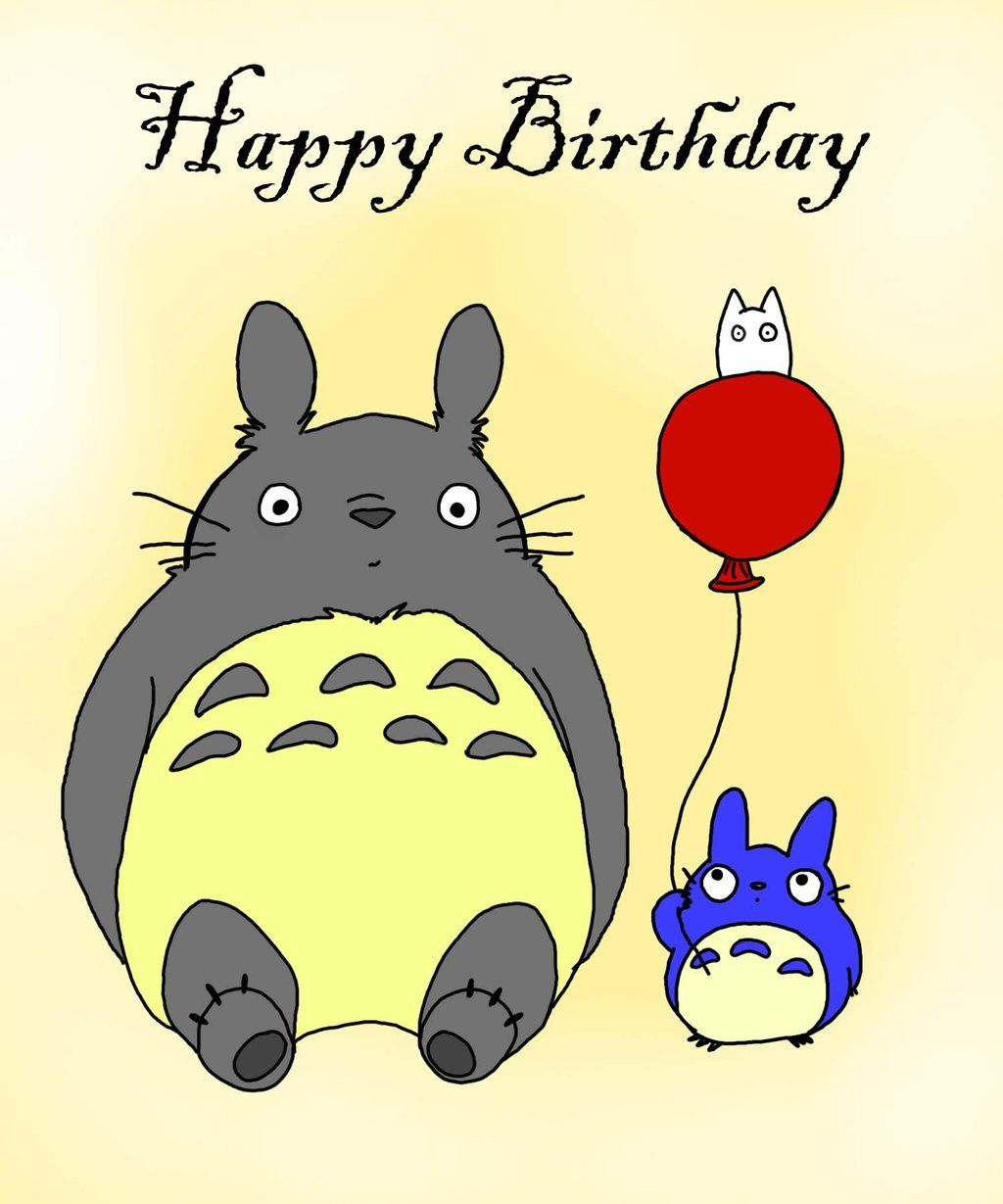 Totoro Birthday Happy Birthday Images Birthday Card Design
