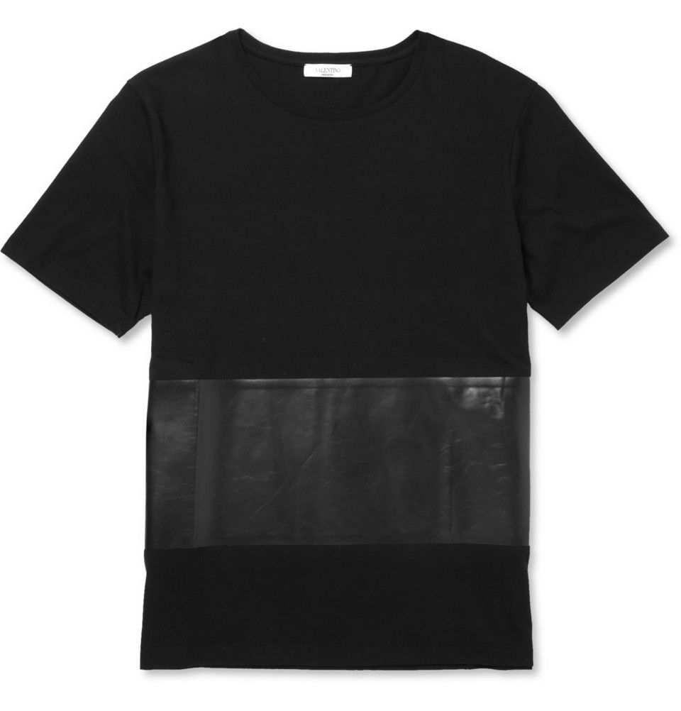 Valentino - Cotton and Bonded-Leather T-Shirt