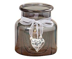 Vasetto porta candela in vetro Sansa fume' - 15x14 cm