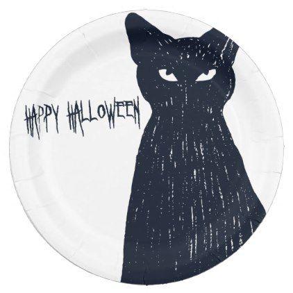 Halloween Black Cat Silhouette Paper Plate - halloween decor diy cyo - halloween decorations black cat
