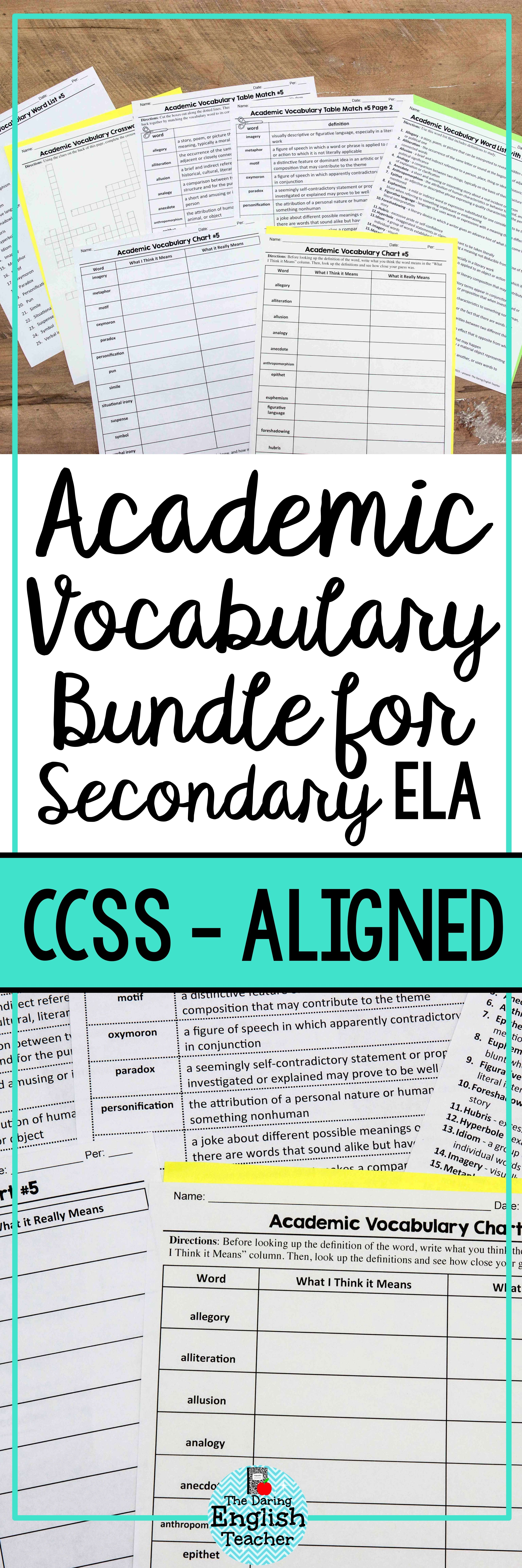 Academic Vocabulary Bundle For Secondary English With