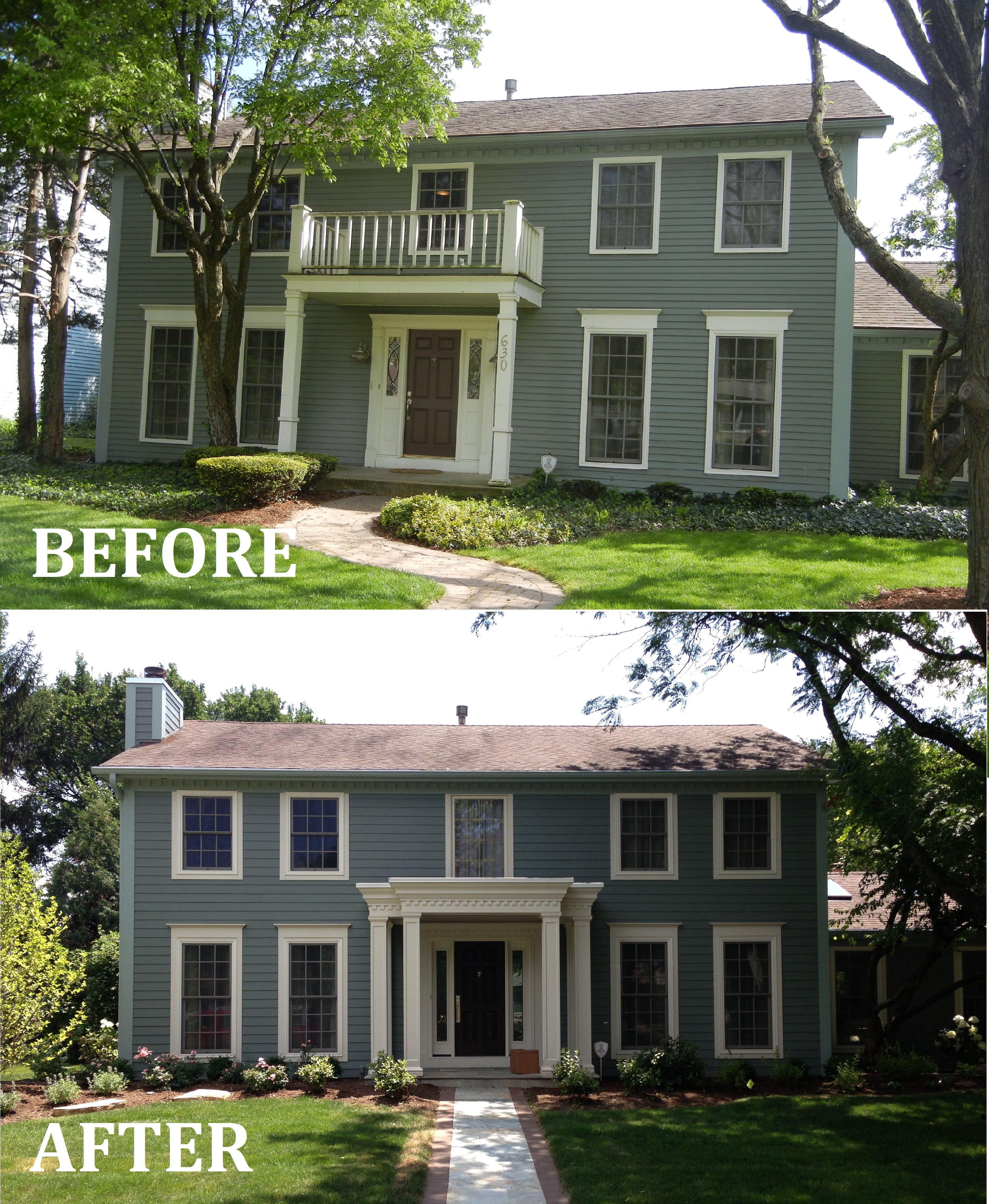 James hardie siding and new portico naperville - Colonial house exterior renovation ideas ...
