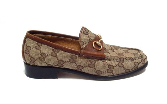 2426f4b5911b Vintage Gucci Monogram Canvas and Leather Horsebit Loafers-Womens Size 7B