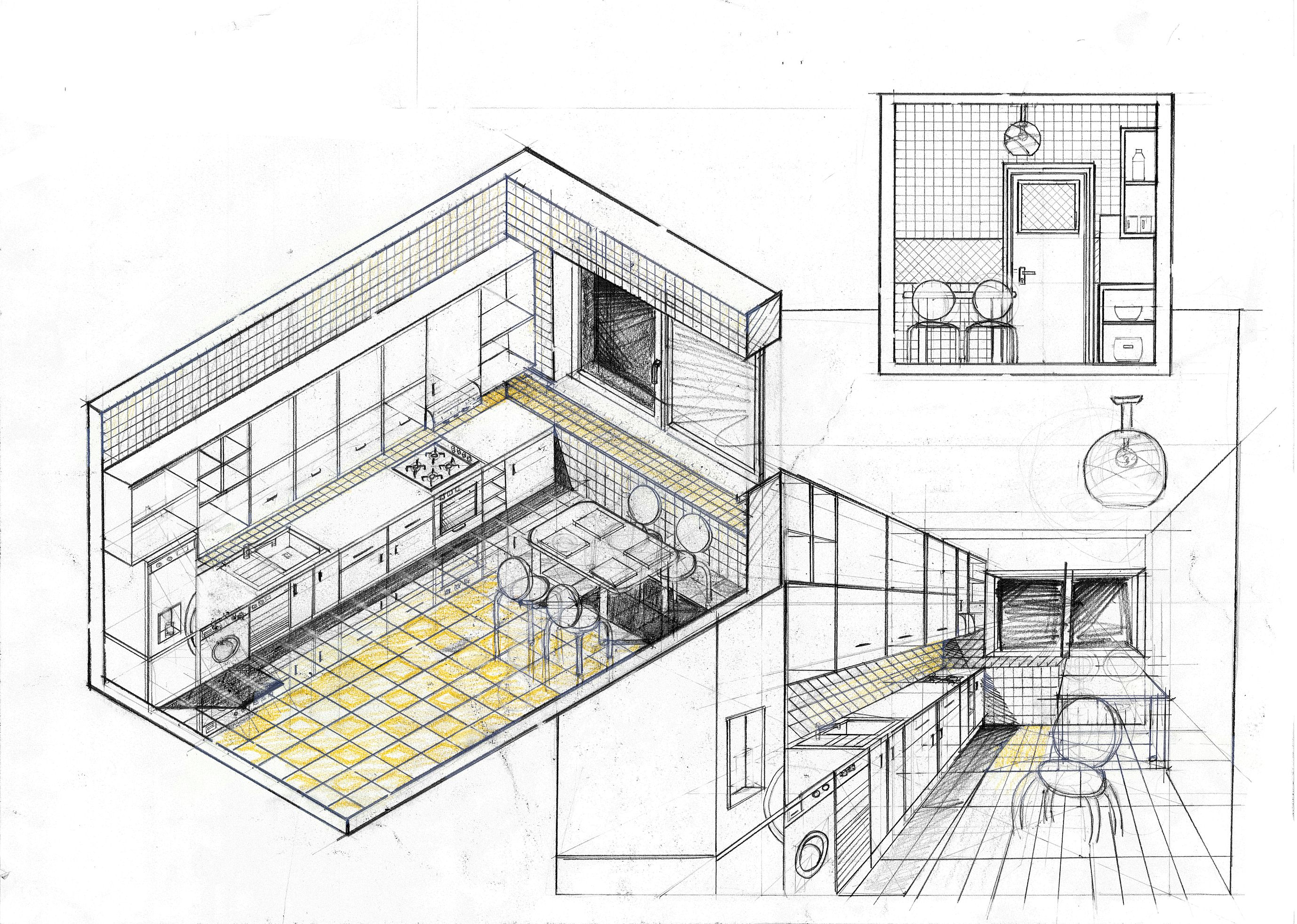 Kitchen design fairly standard design approach good sheet layout though pencil colored crayons on 50x70 standard paper 5 hours completion time