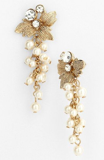 Nina 'Alecia' Faux Pearl Drop Earrings available at #Nordstrom the leaves would match my dress