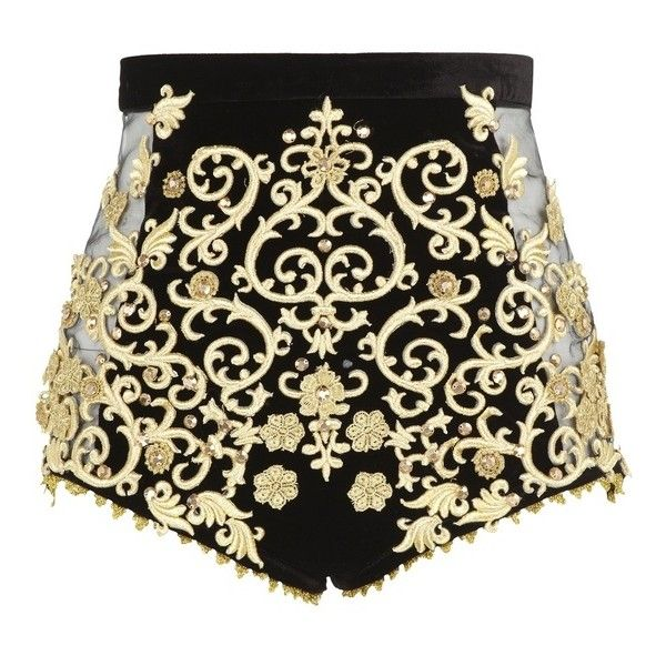black and gold. baroque ❤ liked on Polyvore featuring shorts, bottoms and black and gold shorts