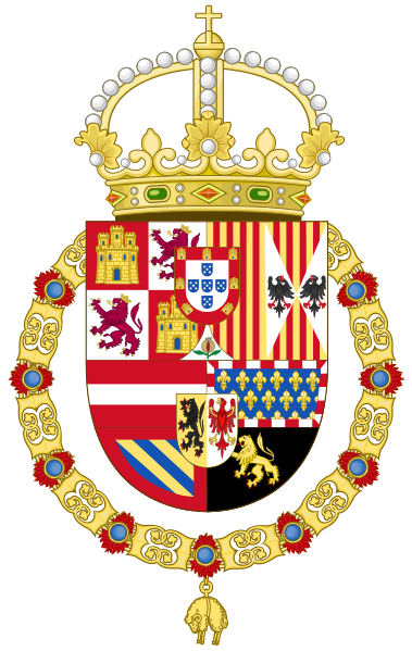 Royal Coat Of Arms Of Spain 1580 1668 King Philip Ii Coat Of Arms Heraldry Kingdom Of Navarre