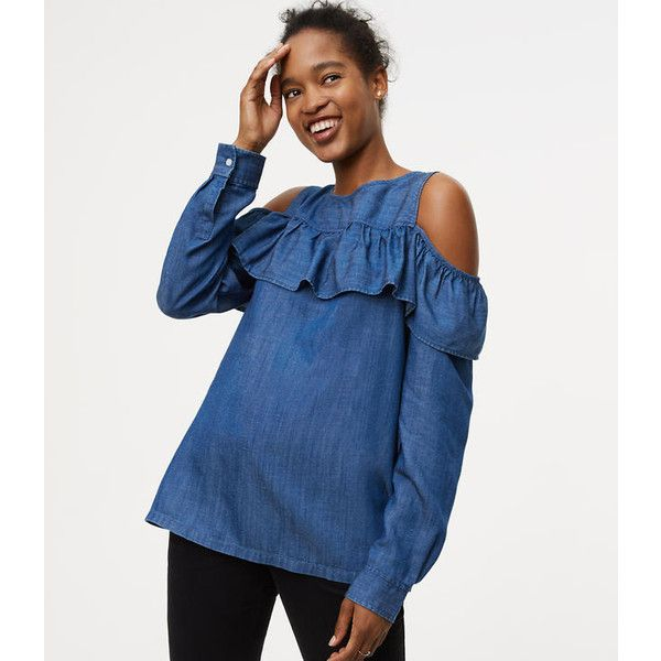 c1132ae842e260 LOFT Chambray Flounce Cold Shoulder Shirt ( 9.88) ❤ liked on Polyvore  featuring tops