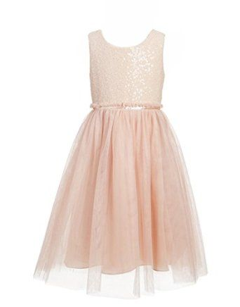 ccecf4900d1 Amazon.com  Princhar Blush Sequin Tulle Flower Girl Dress Wedding Party  Toddler Dress For Kids  Clothing