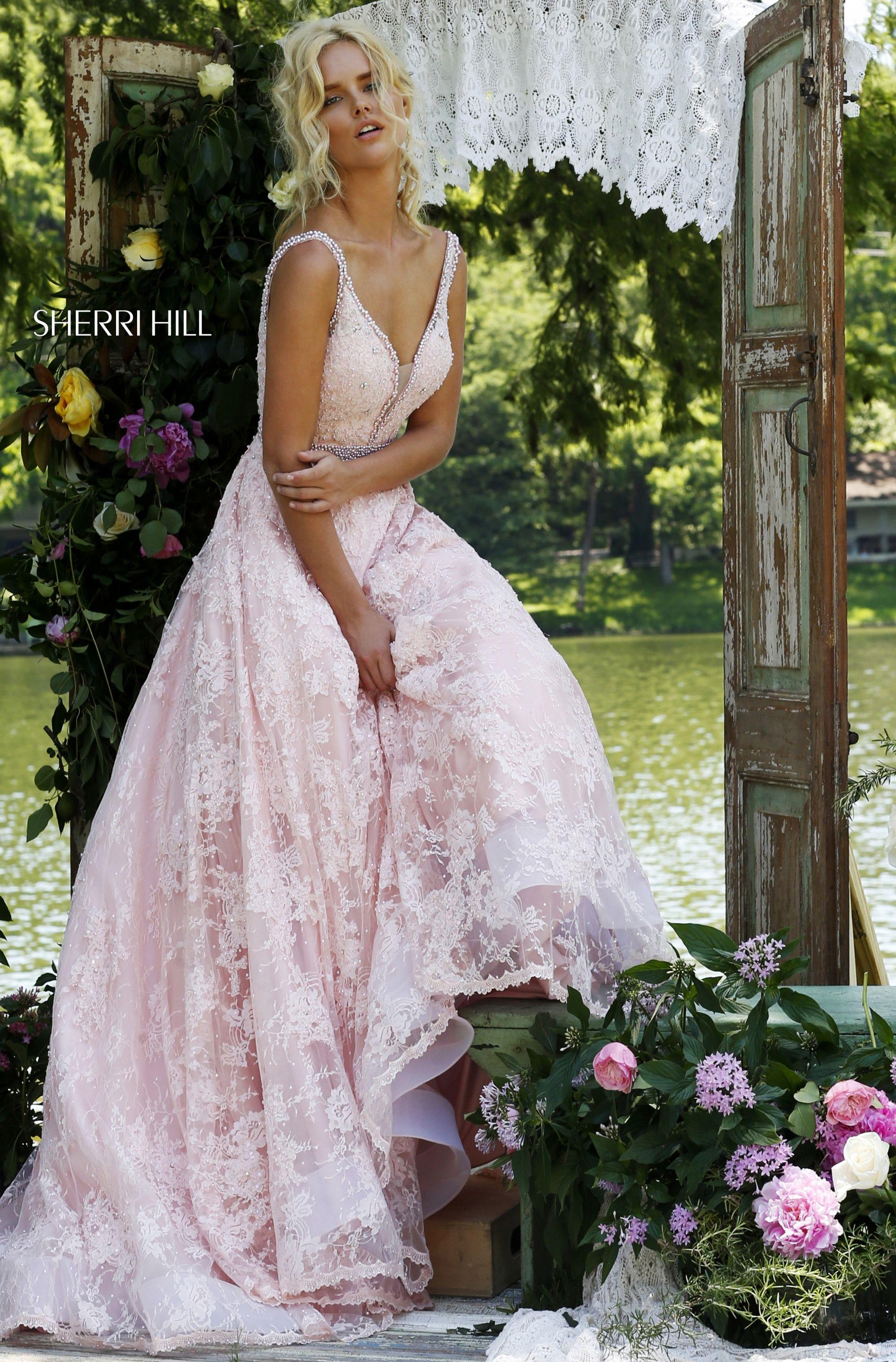 80d1f88a81f Spring 2017 Sherri Hill Utah Prom Dress Utah Dress Store Pink Lace Light  pink Beading Ballgown Flowy V-neck