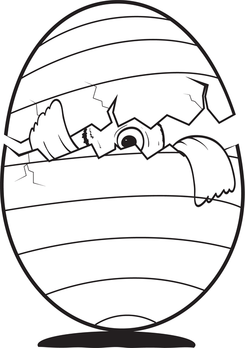 Fun Easter Coloring Page For Kids Of A Cracked Egg With Baby Chick Peeking Out Its Free And Easy To Print