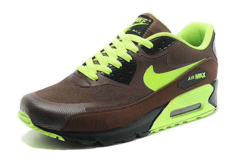 online store 8303e 83f2b NIKE AIR MAX 90 BROWN FLUORESCENT NEON GREEN   Kicks 2   Nike air max, Nike  air, Air max 90.