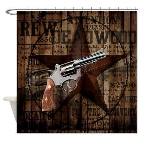 Bathroom Accessories Decor Western Pistol Gun Shower Curtain