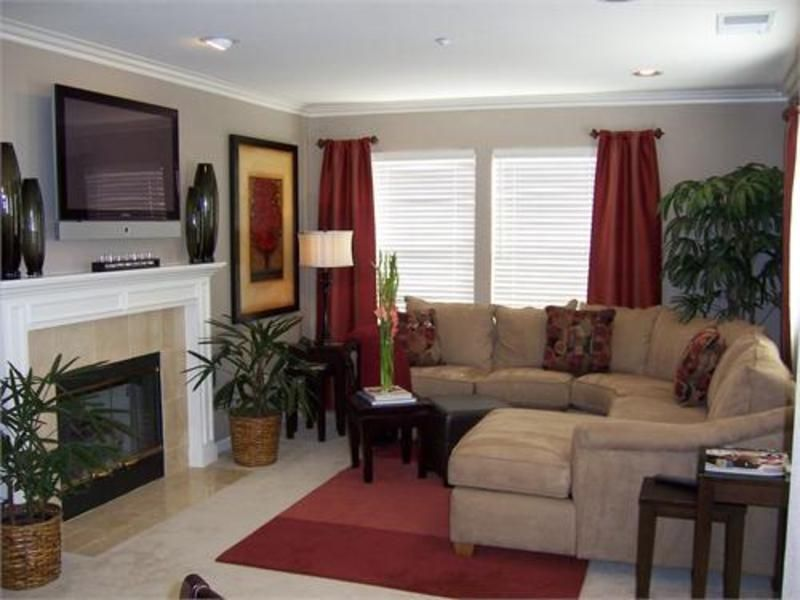 Living Room Color Scheme Tan And Maroon Red Curtains