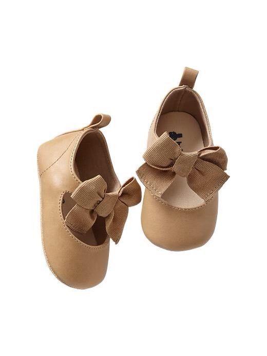 dd5b0d119d3a2 GAP Baby Girl Size 0-3 Months NWT Beige / Tan Mary Jane Bow Flats ...