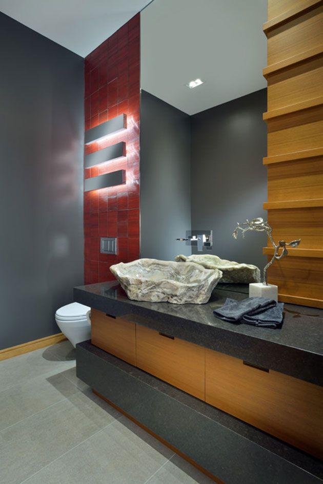 El encanto de los baños con lavabos de piedra bruta (con ...