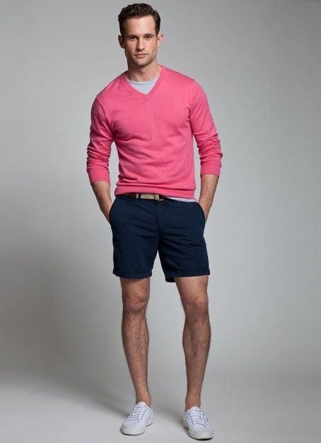 Men's Hot Pink V-neck Sweater, Grey Crew-neck T-shirt, Navy Shorts ...