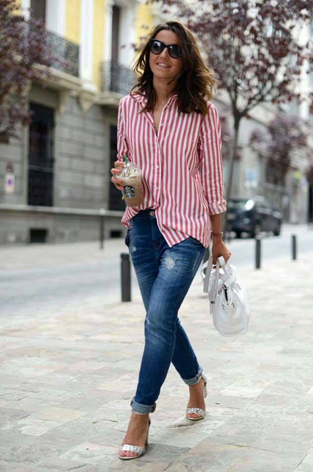 Camisa listrafa vermelho e branco