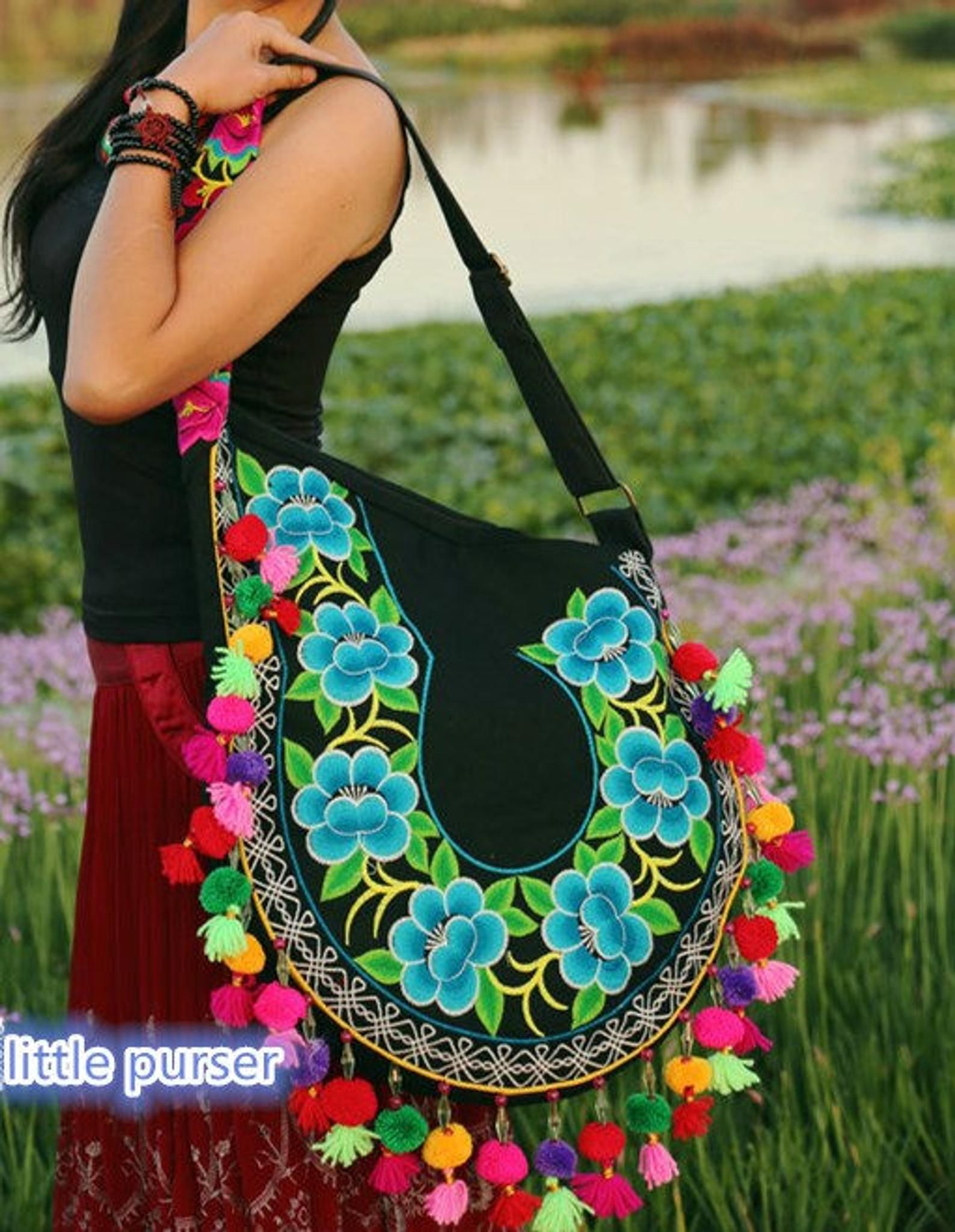 Embroidery bag folk style bag bag canvas bag Handmade embroidery bag purse Hand Made Embroidery Great Floral Pattern Tote Bag