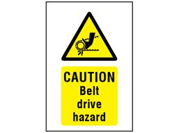 Caution Belt Drive Hazard Symbol And Text Safety Sign Ws4570 Label Source Hazard Symbol Signs Hazard