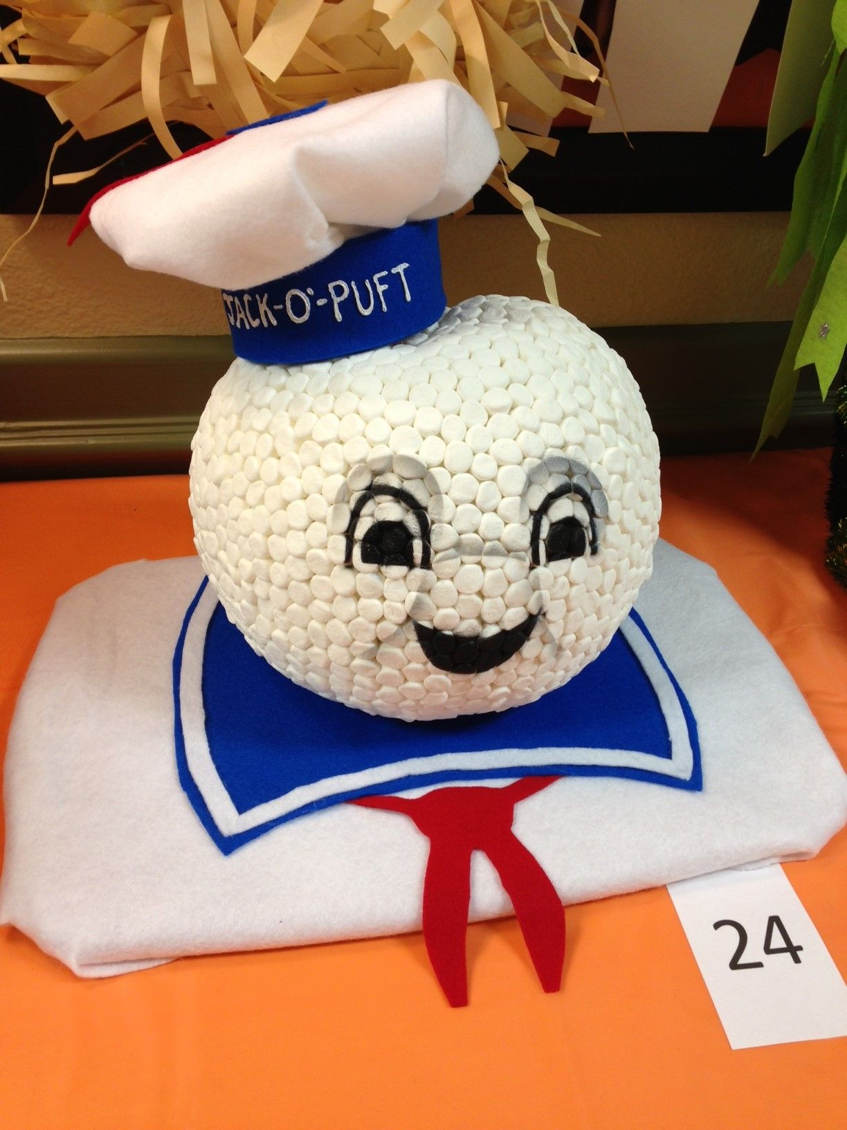 Stay Puft Marshmallow man pumpkin we decorated for Mason s school