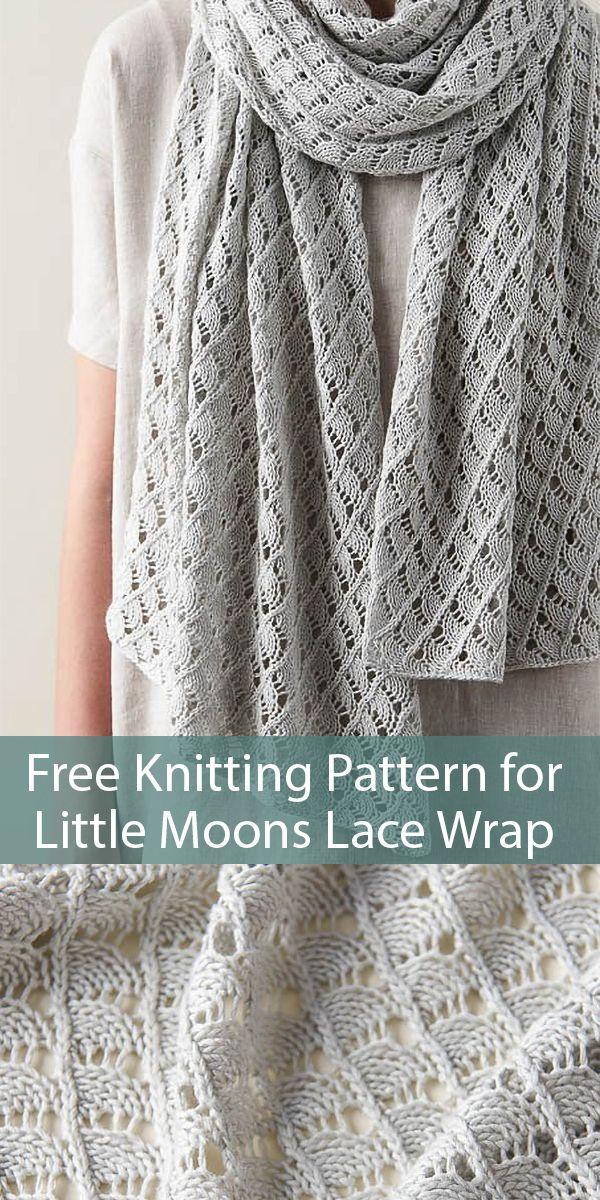 Free Knitting Pattern for Little Moons Lace Wrap Shawl #knittingpatternsfree