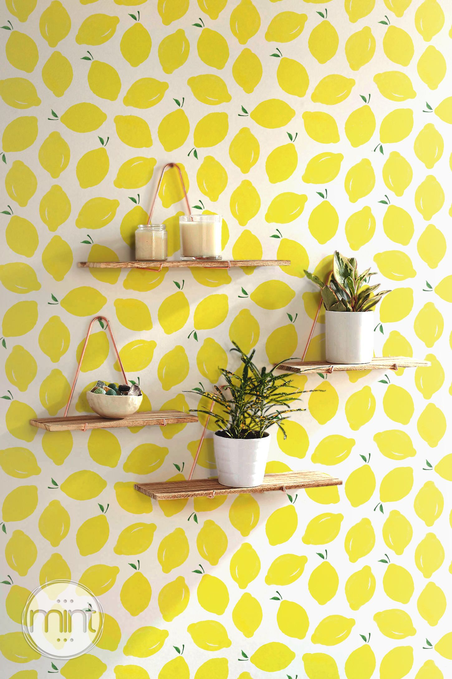 Lemon wallpaper Self adhesive yellow wallpaper kitchen backsplash ...