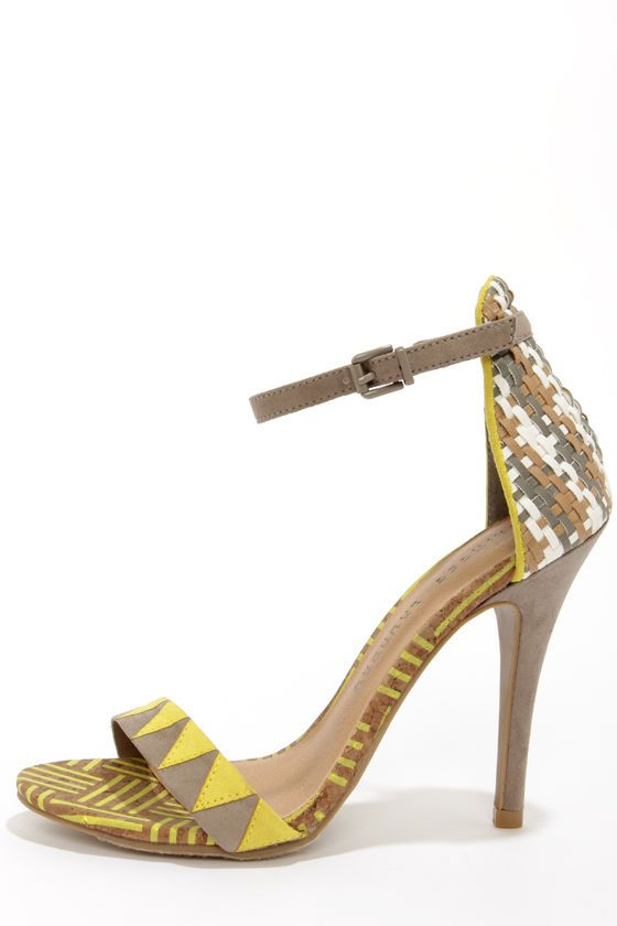 adc14ee09247 Chinese Laundry La Paz Natural Multi Print Ankle Strap Heels at LuLus.com!
