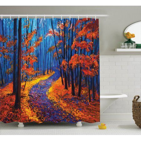 Country Decor Shower Curtain Set, Dark And Deep In The Forest In ...