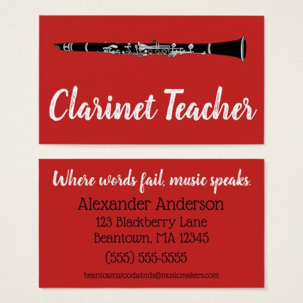 Beantown clarinets business card custom professional business cards beantown clarinets business card custom professional business cards for teachers and tutors teacher tutor flashek Images