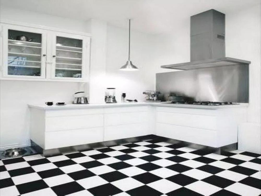 30 Most Popular Kitchen Design With Black White Flooring Ideas 30 White Kitchen Tiles Popular Kitchen Designs White Tile Kitchen Floor