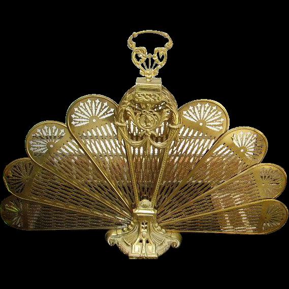 vintage brass peacock folding fan fireplace screen lady cameo in rh pinterest com